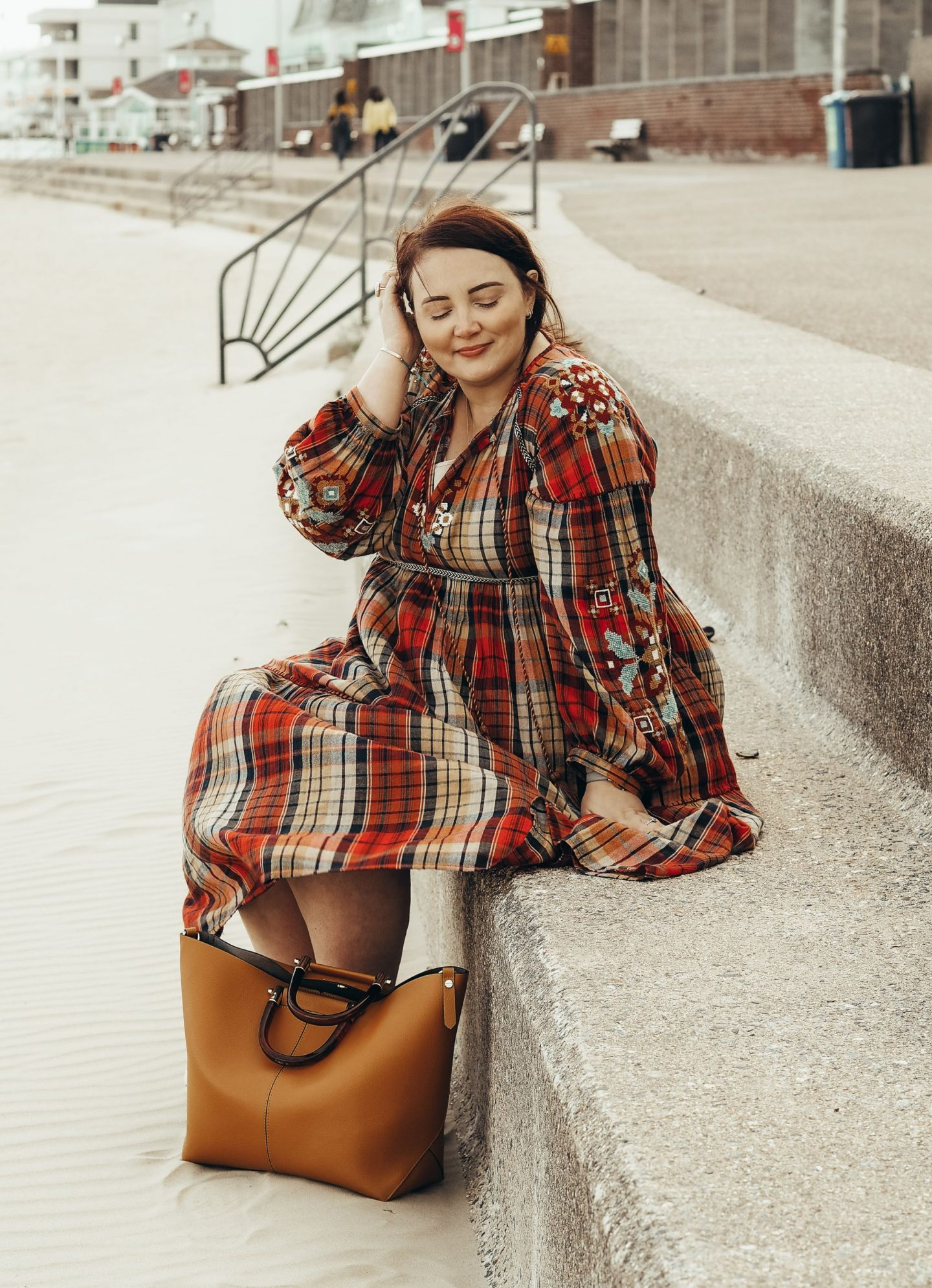 everything I love about Autumn next checked midi dress on the beach windy